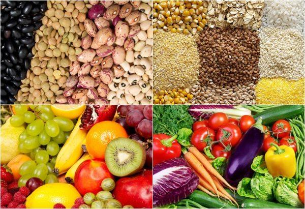 Các loại ngũ cốc nguyên hạt và rau củ quả