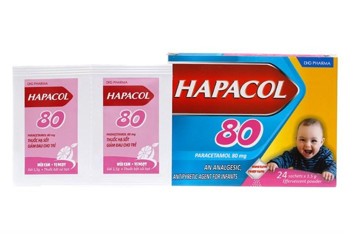 Thuốc Hạ sốt Hapacol được bán trên thị trường dưới dạng hộp 24 gói